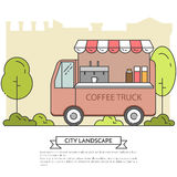 City landscape with coffee truck in public park Line art Stock Image