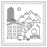 City landscape coloring page for kids. Coloring page for kids with city landscape, houses, car, trees and bench. Vector illustration stock illustration