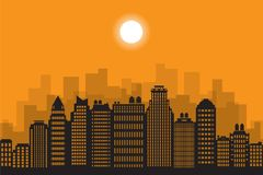 Downtown landscape with high skyscrapers. City landscape. Downtown landscape with high skyscrapers. Urban life. Vector illustration stock illustration