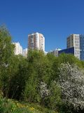 City landscape in an ecologically clean place in city of Khimki, Russia. City landscape in an ecologically clean place in the city of Khimki, Russia stock image