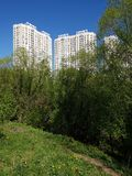 City landscape in an ecologically clean place in city of Khimki, Russia. City landscape in an ecologically clean place in the city of Khimki, Russia stock photography