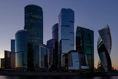 City landscape with evening view on moscow international business center royalty free stock photography