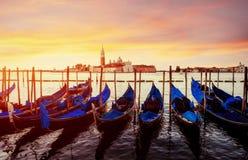 City landscape. Fantastic views of the gondola at sunset, moored Stock Image