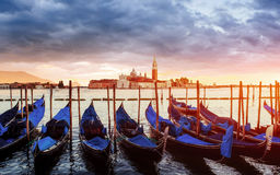 City landscape. Fantastic views of the gondola at sunset, moored Royalty Free Stock Images