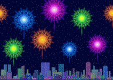 City Landscape with Fireworks. Horizontal Seamless Landscape, Holiday Urban Tile Background, Night City with Skyscrapers and Fireworks in Starry Sky. Eps10 Stock Photos