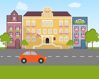 City landscape in flat design style. Vector illustration. On the picture buildings, the road, the car are presented Stock Image