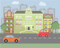 City landscape in flat design style. Vector illustration. There are buildings, road, cars on the picture Royalty Free Stock Photo