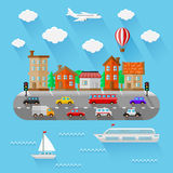 City landscape. Flat design. Vector illustration Royalty Free Stock Photo