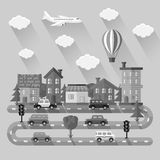 City landscape. Flat design. Vector illustration Stock Photo