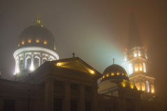 City landscape in fog Royalty Free Stock Image
