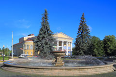 City landscape - the fountain in the square at the Kaliningrad regional drama theater Royalty Free Stock Photography
