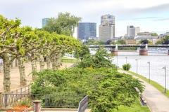 City landscape. Frankfurt am Main. Embankment and bridge Royalty Free Stock Photo