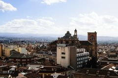 Landscape of the city of Granada, Spain, with cathedral royalty free stock photography