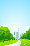City Landscape with Green Trees Royalty Free Stock Photos