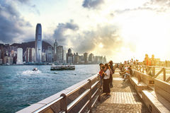 City Landscape of Hong Kong from Kowloon side across from Victor Harbor, Hong Kong Stock Photography