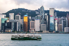 City Landscape of Hong Kong from Kowloon side across from Victor Harbor, Hong Kong Stock Images