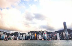 City Landscape of Hong Kong from Kowloon side across from Victor Harbor, Hong Kong Stock Photo