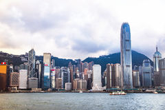 City Landscape of Hong Kong from Kowloon side across from Victor Harbor, Hong Kong. Stock Image