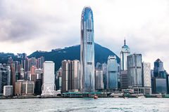 City Landscape of Hong Kong from Kowloon side across from Victor Harbor, Hong Kong. Stock Images