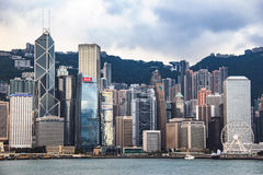 City Landscape of Hong Kong from Kowloon side across from Victor Harbor, Hong Kong. Royalty Free Stock Image