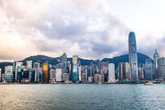 City Landscape of Hong Kong from Kowloon side across from Victor Harbor, Hong Kong. Royalty Free Stock Photos