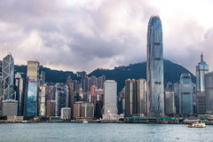 City Landscape of Hong Kong from Kowloon side across from Victor Harbor, Hong Kong. Royalty Free Stock Images
