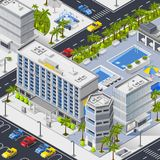 City Landscape With Hotels Pools And Car Parking Royalty Free Stock Photo