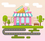 City landscape with ice cream shop. Vector flat style illustration of City landscape with ice cream shop building, street with road, bench and trees. Signboard Royalty Free Stock Photos