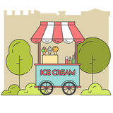 City landscape with ice cream on wheels in public park. Ice cream cart on wheels. Sweet frozen food kiosk in public park . Vector illustration. Flat line art Stock Image