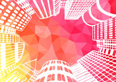 City landscape illustration. Office buildings, skyscrapers. City landscape illustration. Look at the sky through the office building. Colorful background Stock Images