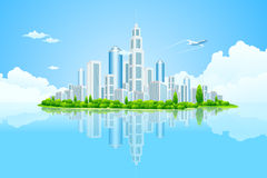 City Landscape Island with Green Trees Stock Photo