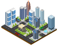 City Landscape Isometric View. Vector. City Landscape Isometric View Part of the Map with Architecture of Buildings for Web and Game. Vector illustration Royalty Free Stock Image