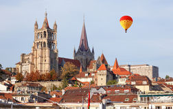 City landscape of Lausanne in the west of Switzerland Stock Photo