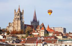 City landscape of Lausanne in the west of Switzerland Stock Photography
