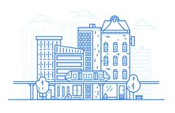 City Landscape Line art design concept for website background. Urban cityscape with town architecture. Linear style. royalty free illustration