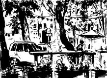 City landscape. Made by ink on paper. Royalty Free Stock Photography