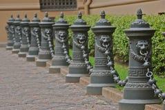 City landscape with metal columns, Riga, Latvia. City landscape with metal columns, Riga, Latvia, Europe Stock Photo