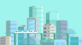 City landscape. Modern architecture, buildings, skyscrapers. Train crossing the light rail subway railway. Flat vector royalty free stock images