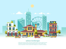 City landscape. Modern architecture 3d style. Modern architecture, ferris wheel, cars, skyscrapers. Green energy and eco friendly city. Modern architecture Royalty Free Stock Image