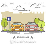 City landscape with modern cars on parking Flat line art Royalty Free Stock Image