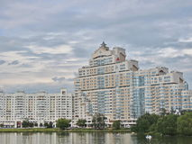 City landscape. Multi-storey buildings against the cloudy sky. City of Minsk of Belarus. The modern town houses. Urban views. The urban landscape of the city of Stock Image