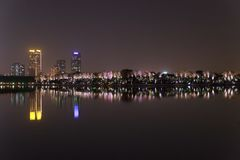 City landscape of Nanjing at night from lake stock images