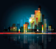 City Landscape at night. Colorful city skyline at night with lights Royalty Free Stock Images