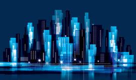 City Landscape at night Royalty Free Stock Images