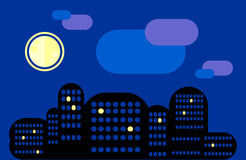 City landscape. Night city under the moon. Some windows are lit. Stock Photo