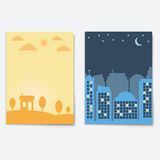 City  landscape night and day town banners isolated. Flat style urban vector illustration Stock Photo