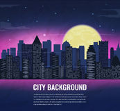 City landscape at night in moonlight. Vector background Stock Photos