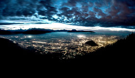City Landscape at Night. A Overview of Salzburg in the blue hour Royalty Free Stock Photography