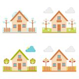 City landscape with old house. Set of illustrations of the seasons. City landscape with old house royalty free illustration