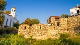 City landscape - Orthodox church and ancient ruins in the town of Sozopol Stock Image